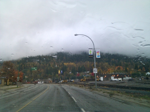 Approaching the small rainy resort town of Revelstoke, BC.